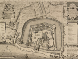 A true and exact draught of the Tower Liberties, survey'd in the year 1597 by Gulielmus Haiward and J. Gascoyne